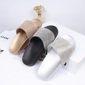 2020 Горный Хрусталь Женщин Тапочки Вьетнамки Летние Слайды Женская Обувь Кристалл Алмаза Bling Пляж Слайды Сандалии Туфли Поскользнуться На