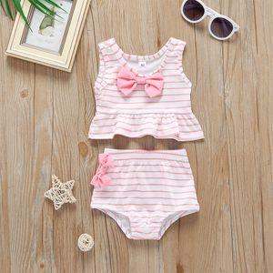 Lovely Toddler Kids Baby Bow Swimsuit Cute Striped Bathing Bikini Sets Two Pieces Beach Party Swimming Swimwear micro bikini