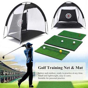 Indoor faltbare Golf Schlagen Cage Praxis Net Trainer + Training Aid Mat + Fahrer Iron Garten Wiese Golf-Trainingsgeräte