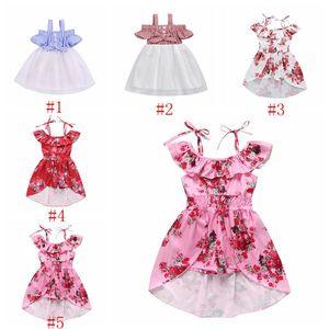 Bebek Tasarımcı Giyim Kız Suspender Elbiseler Çocuk Yaz Off Omuz Prenses Elbise Moda Patchwork Pileli Etekler Bow Sundress PY473