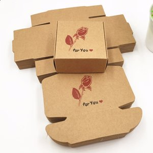 50pcs 65*65*30mm Kraft Paper Aircraft Gift Boxes Handmade Soap Packing Box Jewelry Cake Handicraft Candy Storage Paper Boxes