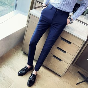 2019 Brand clothing New Men Formal Suit Trousers Black and White Solid Men Suit Trousers Male cotton slim Business casual pants