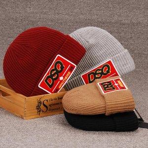2020 새로운 스타일 DSQICOND2 자수 모자 니트 캐시미어 두꺼운 따뜻한 부부 연인 부모 - 자식 모자 조수 거리 힙합 양모 모자 D53