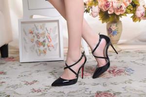 Mit Box Mode Luxus-Designer-Frauen Schuhe mit hohen Absätzen 9cm 11 cm Nude schwarz High Heel Leder spitze Zehen Pumpen Böden Schuhe Kleid