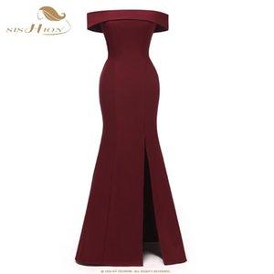 SISHION Slash Long Neck Robe élégante CD1684 gauche de Split Bleu marine Vin rouge Parti robe noire robe longue