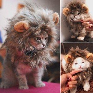 Смешные Cute Pet Cat костюм льва грива парик Cap Hat для Cat собак Хэллоуин Рождество Одежда Fancy платье с ушками Одежда для животных