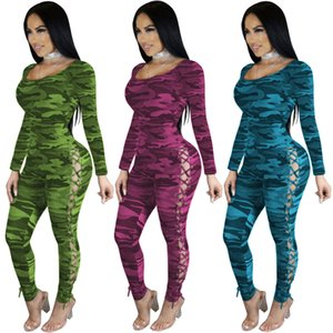 Nuovi arrivi Camouflage donne Skinny tute Lace up scavano fuori laterale maniche lunghe scollo locale notturno sexy delle tute pagliaccetti Alta Qualit