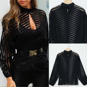 Mode Femmes à haut col creux filet à mailles shirt à manches longues Hauts Chemisier transparent Clubwear Noir