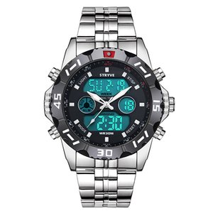 Stryve 8011 Relojes Marca impermeável Sport Militar Relógios Men Stainless Steel Quartz Digital Dual Display Assista montre homme LY191213