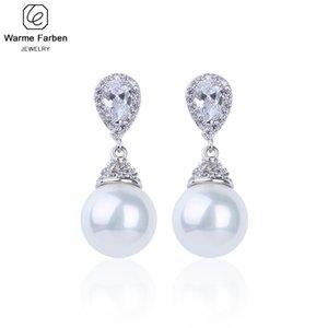 Warme Farben 925 de la astilla de las mujeres pendientes hechos con cristales de Swarovski elegante de la boda de joyería de perlas pendientes de gota de los pendientes de CJ191223