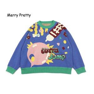 Merry Pretty 2019 Autunno Inverno Spessore caldo maglione Donne PlayFul Divertenti Pullover lavorato a maglia Jacquard Jumper Top Maglieria casual