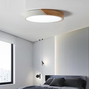 Nordic techo Macaron LED de la lámpara redonda ligera de madera Inicio Sala de estar Estudio Dormitorio Montado en Superficie del accesorio de iluminación de control remoto