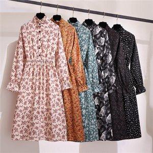 Стильный цветочный платье партии Женщины Длинные рукава Flare Гофрированные платья O-образным вырезом Туники Кнопка Vestidos весна осень платье женщин Ropa
