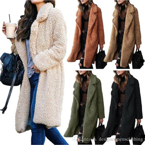 Зимние плюшевые отвороты шеи женщины длинные пальто мода кардиган шерстяные пальто повседневная сплошной цвет Женская верхняя одежда