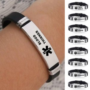 Stainless Steel Alert ID Silicone Bracelet Bangle Wristband Adjustable Unisex Jewelry