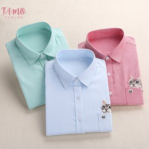 Women Embroidery Shirt Cat School Blouses Office Ladies Tops Embroidery Female Blusas Plus Size Embroidered Work Shirt Autumn 2020