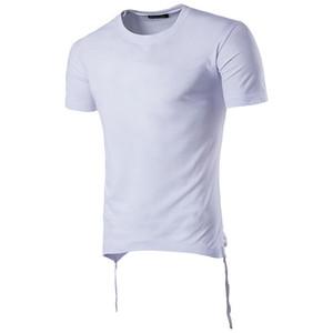 Summer Designer Mens Tshirts Drawstring Solid Color Fashion Tees Casual Crew Neck Short Sleeve Tees Mens Clothing