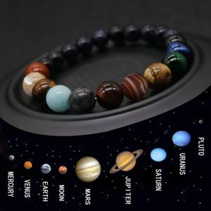 2019 ocho planetas de bolas de piedra natural Pulsera Hombres Universo Yoga Chakra Pulsera Sistema Solar Hombres joyería envío de la gota MY3