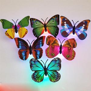 ضوء ملون فراشة ملصقات الحائط سهل التركيب ليلة ضوء LED مصباح الرئيسية المعيشة غرفة نوم طفل الثلاجة ديكور 53234