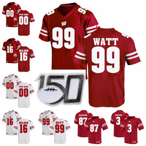 Wisconsin Badgers Maillots Alex Hornibrook Jersey T. J. Edwards Jon Dietzen Russell Wilson JJ Watt College Football chandails personnalisés Cousu