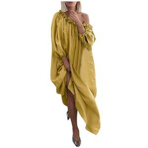 Mode femme Robes Slash cou couleur solide longues Robes manches mi-longues Robes Casual Designer Styles multiples femmes Vêtements de créateurs