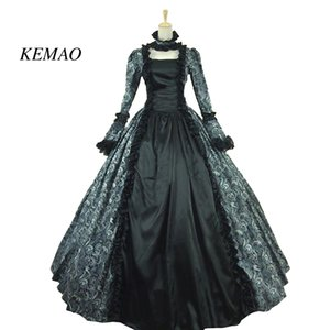 KEMAO Victorian Rococo Costume Women's Adults' Dress Purple Vintage Cosplay Flocked Long Sleeves Bell Ankle Length Prom Dress ball gown