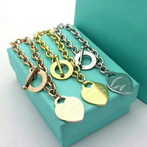 2020 New Design Titanium steel Bracelets For Women Gold Sliver Heart shape Bangles Female Gift With Original bag