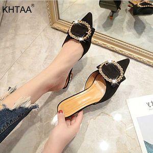 KHTAA mujeres elegantes mulas zapatillas punta estrecha hebilla del Rhinestone sandalias forma a multitud Zapatos de verano sólido calzado para damas
