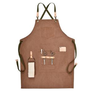 Barbacoa delantal Babero la cocina del cocinero delantal Mujer Hombres Barista camarero de bolsillo de la familia del peluquero Chef café restaurante