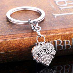 12pcs / Lot Мода Nurse брелок подарки Кристалл Rhinestone Любовь сердце Подвеска брелоки Женщина Мужчины Nurses Day Key Chain Ring ПРЕДСТАВЛЯЕТ