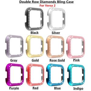 Novità del caso della copertura di alta qualità di PC con doppia fila diamante per Fitbit Versa 2 caso di Bling buona protezione multi colori facoltativi
