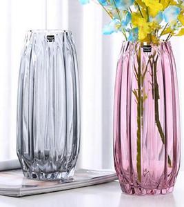 الإبداعية الزجاج زهرية كبيرة لون شفاف ثقافة المياه الغنية الخيزران الحرف الضلع العمودي إناء غرفة المعيشة زهرة ترتيب