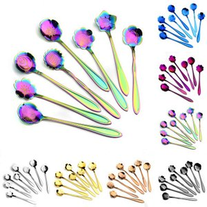 7 colors flower mixing spoon Stainless steel colorful flower coffee spoon 8 kinds of flower shape tea spoon YD0320