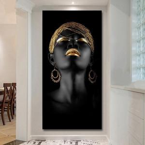 Salon No Çerçevesi Wall Art Poster ve Baskılar Pictures Dekorasyon Boyama Kanvas Modern Siyah Kadın Modeli