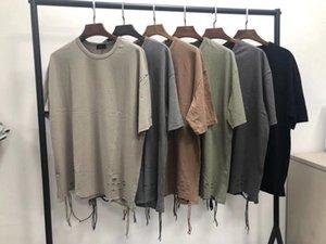 힙합 남성 디자이너 티셔츠 패션 찢어진 어깨 기울기 드롭 짧은 소매 티셔츠 리본 크루 넥 탑