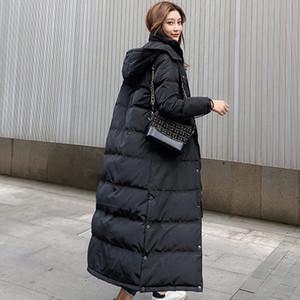 Womens inverno casaco quente Casaco de Inverno Longo Branco grosso Duck Down Jacket mulher com capuz e Parka longo do soprador Jacket