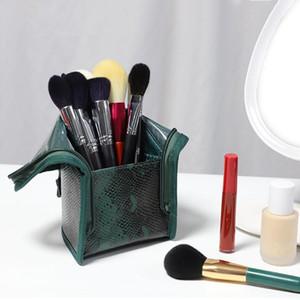 Viagem escova composição cosmética do saco verde bolsa PU de mão portátil Maquiagem armazenamento Escova Cup Titular Organizador de alta qualidade