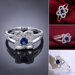 Anillos de piedras preciosas Compromiso de diamantes Moda Bellamente joyería 925 Anillos de bodas de plata esterlina Anillos de diamantes de cristal de boda