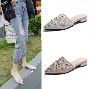 summer cut-out gold/silver rivets mules shoes women comfortable low heel slides fashion all-match slippers high quality flipflop