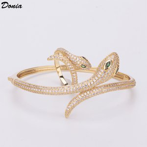Donia jewelry European and American fashion exaggeration classic ferocious snake inlaid Zirconia Bracelet Ring Set women's Bracelet Ring Gif