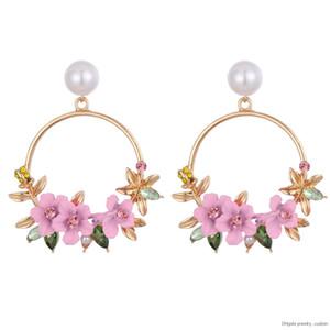 Orecchini fiore moda 2019 New Elegant Big Round Flower Orecchini donna Fashion Simulation Pearl Boucle D'oreille