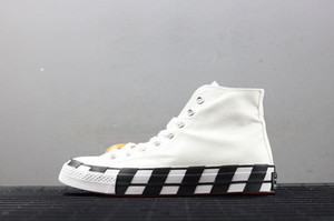 Converse x Off white  New Stripe OFF Chuck 70 blanco llamativo naranja rojo ZAPATOS Taylor 1970S lienzo zapatos para correr para hombre y para mujer moda casual zapatos 162204C Box