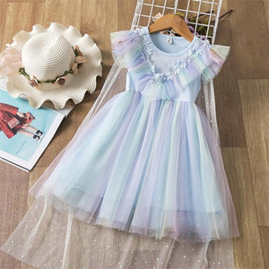 Girl Starry Sky Dress Sequins Lace Blue Sundress Sleeveless Princess Dress Clock can Remove Baby Clothes E81203
