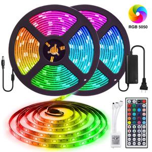 Les lumières de bande de 32.8FT / 10M 300 LED SMD5050 RVB imperméabilisent la couleur de lumière de corde changeant le kit flexible de lumière de bande avec l'alimentation d'énergie à distance de 44 clés