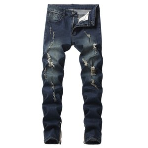 Ripped Jeans For Men's Autumn Denim Cotton Straight Ripped Hole Trousers Distressed Jeans Homme Denim Pants Drop Shipping