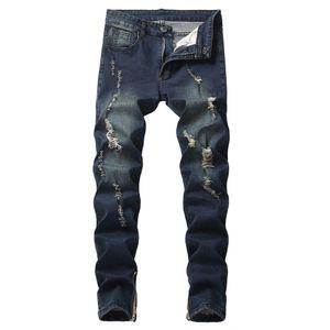 Para los pantalones vaqueros rasgados del dril de algodón de otoño hombres derecho rasgado agujero Pantalones Jeans gastados Homme Pantalones vaqueros envío de la gota