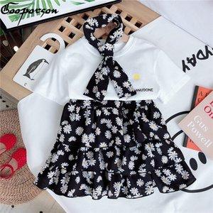 Gooporson été layette Lettre Imprimé Shirtflower Jupe avec Bow Tie Mode coréenne les petits enfants Vêtements Set Tenues T200613