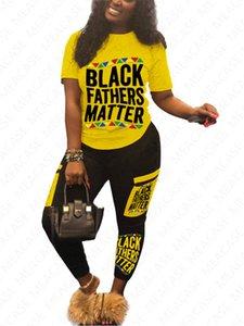 Women BLACK FATHERS MATTER Tracksuit Designer Letters Pullover T-shirt + Patchwork Pants Leggings Sportwear Two Piece Clothing Outfits D7105