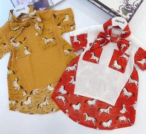 Wholesale Zebra Print With Tie Pocket Princess 2020New Baby Girls T-Shirt New Summer Girls Tops Kid Shirt Children Child Clothes