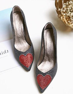 2019 sequined cloth Women's shoes in Spring and Autumn with New style High heel fine heel pointed end